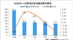 2020年1-6月黑龙江发电量为527.8亿千瓦小时 同比增长1.38%