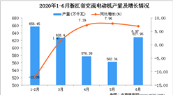 2020年6月浙江省交流电动机产量及增长情况分析
