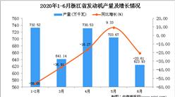 2020年6月浙江省发动机产量及增长情况分析