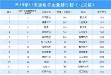 2019年中国独角兽企业排行榜(北京篇)