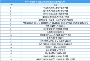 2020年度湖南省对外投资合作重点培育项目名单出炉:共37个项目