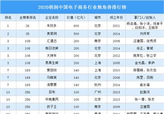 2020胡润中国益智商务行业独角兽排行榜