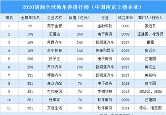 2020胡润中国南京独角兽排行榜(附榜单)