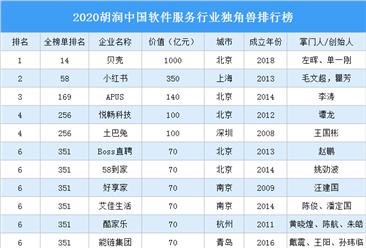 2020胡润中国软件服务行业独角兽排行榜