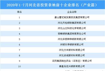 产业地产投资情报:2020年1-7月河北省投资拿地前十企业排行榜(产业篇)
