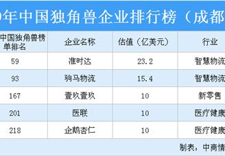 2019年中国独角兽企业排行榜(成都篇)