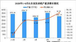 2020年1-6月山东省发动机产量为16559.06万千瓦 同比下降0.66%