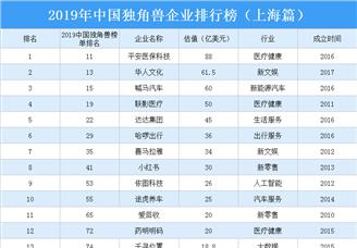 2019年中国独角兽企业排行榜(上海篇)