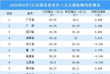 2020年8月7日全国各省市生猪价格排行榜:广西土杂大猪收购均价最高(附排名)