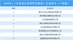 产业地产投资情报:2020年1-7月黑龙江省投资拿地前十企业排行榜(产业篇)