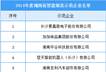 2019年度湖南省智能制造示范企业、示范车间名单出炉(附完整名单)