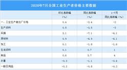 2020年7月全国PPI指数分析:同比下降2.4% 环比上涨0.4%(附图表)