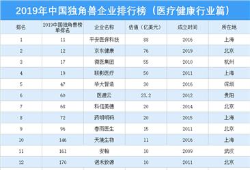 2019年中国独角兽企业排行榜(医疗健康行业篇)