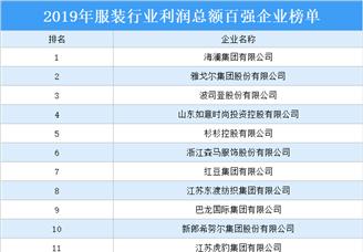 2019年服装行业利润总额百强企业排行榜