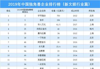 2019年中國獨角獸企業排行榜(新文娛行業篇)