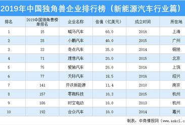 2019年中国独角兽企业排行榜(新能源汽车行业篇)