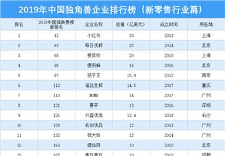 2019年中国独角兽企业排行榜(新零售行业篇)