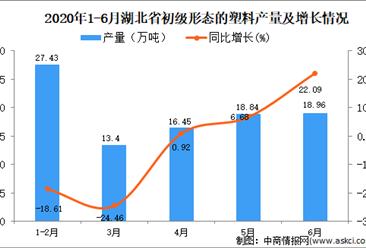 2020年1-6月湖北省初级形态的塑料产量为94.5万吨 同比下降6.44%