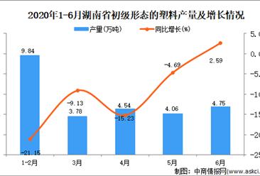 2020年1-6月湖南省初级形态的塑料产量为25.77万吨 同比增长0.82%