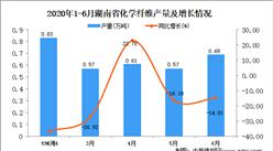 2020年6月湖南省化学纤维产量及增长情况分析