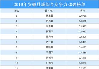 2019年安徽县域综合竞争力30强排行榜