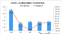 2020年1-6月湖南省铜材产量为7.92万吨 同比增长45.32%