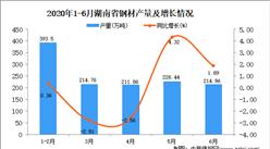 2020年1-6月湖南省钢材产量为1262.71万吨 同比增长0.93%