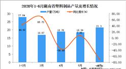 2020年6月湖南省塑料制品产量及增长情况分析