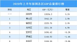 2020年上半年深圳各区GDP总排行榜:南山总量第一 龙岗增速第一(图)