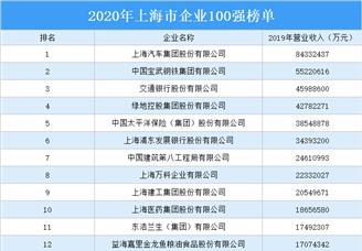 2020年上海市企业100强排行榜