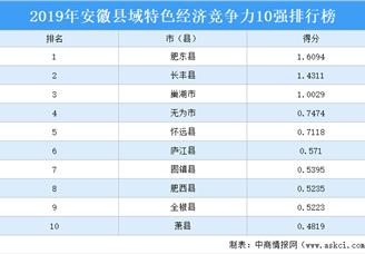2019年安徽县域特色经济竞争力10强排行榜