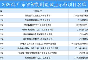 2020年广东省智能制造试点示范项目名单:共88个项目上榜(附详细名单)