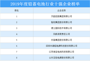 2019年度铅蓄电池行业十强企业排行榜