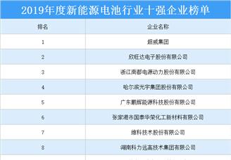 2019年度新能源电池行业十强企业排行榜