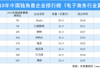 2019年中国独角兽企业排行榜(电子商务行业篇)