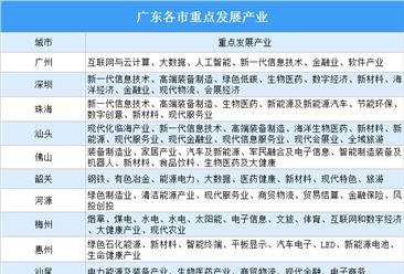 投资指南:2020年广东各市重点发展产业汇总(图)
