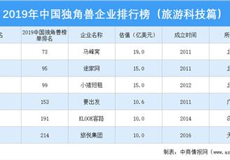 2019年中国独角兽企业排行榜(旅游科技行业篇)