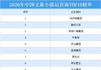 2020年中国文旅小镇运营商TOP10排行榜