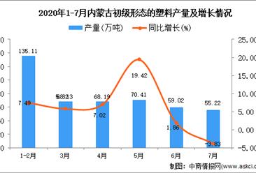 2020年7月内蒙古初级形态的塑料产量及增长情况分析