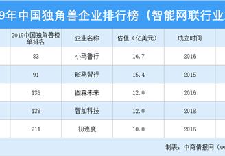 2019年中国独角兽企业排行榜(智能网联行业篇)