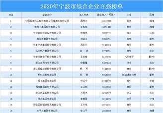 2020年宁波市综合企业百强排行榜