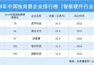 2019年中国独角兽企业排行榜(智能硬件行业篇)