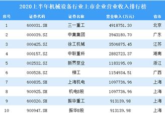 2020上半年机械设备行业上市企业营业收入排行榜TOP100