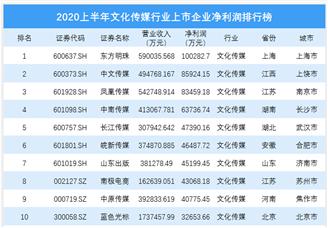 2020上半年文化传媒行业上市企业净利润排行榜(附榜单)