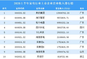 2020上半年家电行业上市企业营业收入50强排行榜