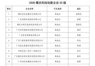 2020年肇庆科技创新企业50强排行榜