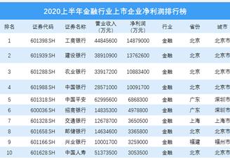 2020上半年金融行业上市企业净利润排行榜 TOP100(图)