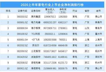 2020上半年家电行业上市企业净利润排行榜(附榜单)