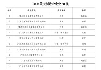 2020年肇庆制造业企业50强排行榜