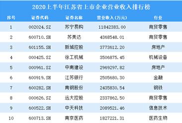 2020上半年江苏省上市企业30强排行榜